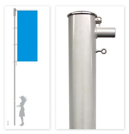 Fahnenmast hissbar mit innenliegender Seilführung