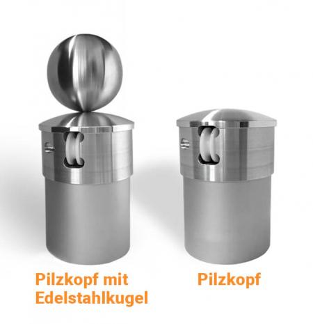 """Fahnenmast-Kopf """"Pilzkopf"""" für Fahnenmasten mit innenliegender Seilführung"""