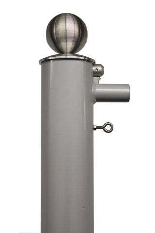 Pilzkopf mit Edelstahlkugel für Fahnenmast