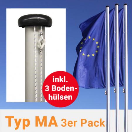 Fahnenmasten mit außenliegender Seilführung im 3er Pack, inkl. Bodenhülsen zum Aktionspreis