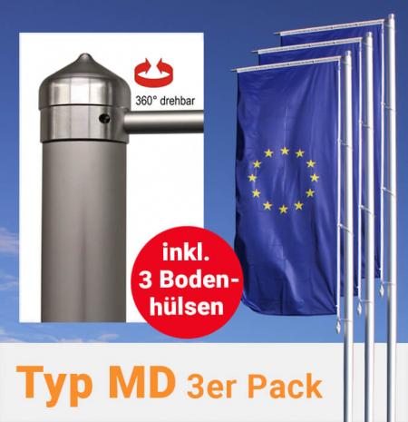 Fahnenmasten mit Drehkopfausleger im 3er Pack, inkl. Bodenhülsen zum Aktionspreis