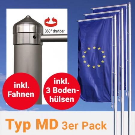 Fahnenmasten mit Drehkopfausleger im 3er Pack, inkl. Fahnen und Bodenhülsen zum Aktionspreis