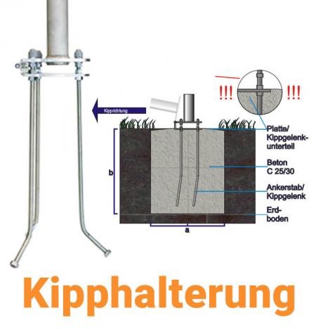 Fahnenmastbefestigung - Kipphalterung für Fahnenmasten