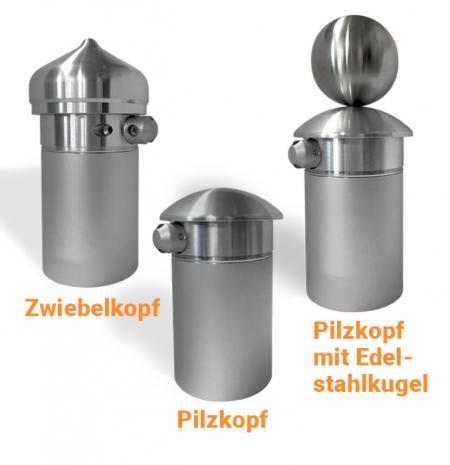 Fahnenmast-Kopf für Fahnenmasten als Zwiebelkopf, Pilzkopf, Pilzkopf mit Edelstahlkugel