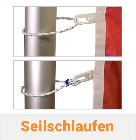 Seilschlaufen für Fahnenmasten offen und geschlossen