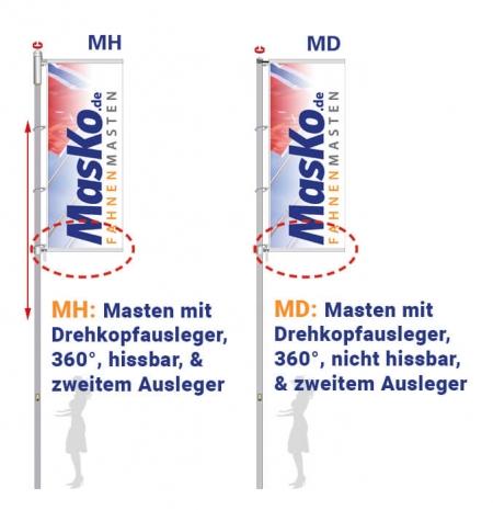 Fahnenmast von Masko mit Drehausleger hissbar / nicht hissbar und zweitem Ausleger