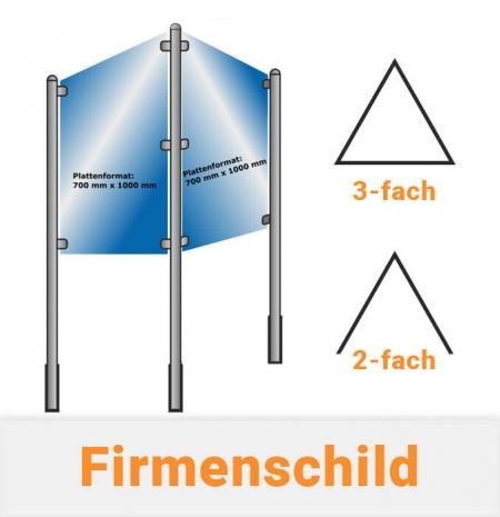 Firmenschild System 2-fach und 3-fach