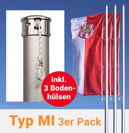 Fahnenmasten mit innenliegender Seilführung im 3er Pack, inkl. Bodenhülsen zum Aktionspreis