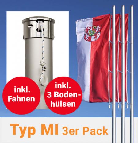 Fahnenmasten mit innenliegender Seilführung im 3er Pack, inkl. Fahnen und Bodenhülsen zum Aktionspreis