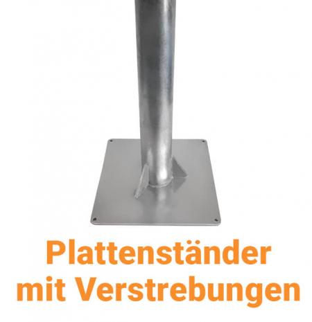 Fahnenmastbefestigung - Plattenständer mit Verstrebungen für Fahnenmasten