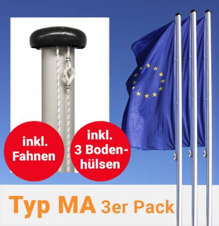 Fahnenmasten mit außenliegender Seilführung im 3er Pack, inkl. Fahnen und Bodenhülsen zum Aktionspreis